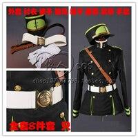 Seraph Sonu Hyakuya Mikaera Anime Cosplay Kostüm Askeri Üniforma Kat + Pantolon + Gömlek + Şapka + Pelerin + Omuz Askıları + Kemer + Eldiven