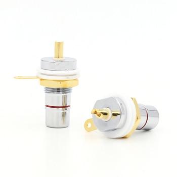 hi Audio 8PCS Rhodium+Gold Plated  RCA Socket Phono Chassis Female HIFI AMP цена 2017