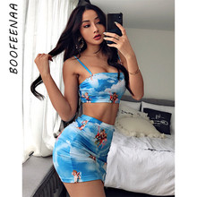 BOOFEENAA Angel Printed Sexy Two Piece Set Crop Top and Skir