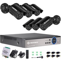 DEFEWAY 1080N P2P 8 Channel System Video Surveillance DVR KIT 6PCS Outdoor IR Night Vision 1.0 MP with Emergency battery