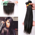 7A Grade Malaysia Virgin Hair Ear To Ear Lace Frontal Closure With Bundles Light Yaki Human Hair With Full Frontal Lace Closure