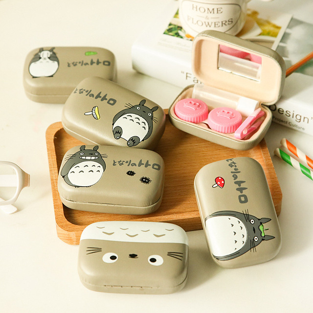TOTORO Cosmetic Contact lens case with mirror colored contact Lens Container case cute Lovely Travel kit Nursing Box