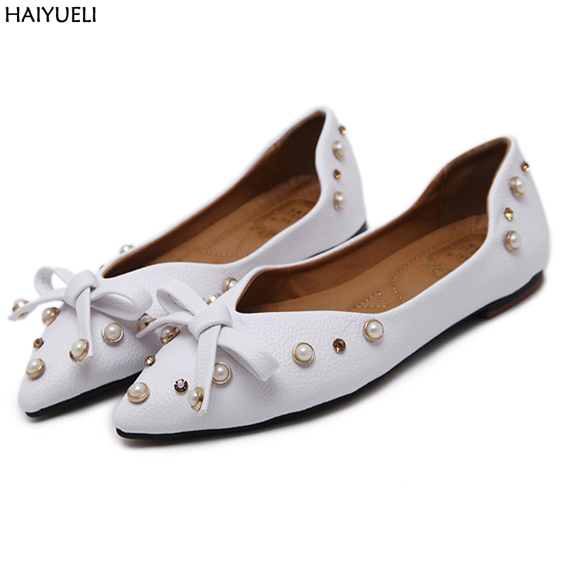 Women Flats Sweet Women's Flat Shoes Pointed Toe Comfortable Ballet Soft Soled Shoes Pearl Flat Shoes Casual Ladies Flat Shoes 2017 womens spring shoes casual flock pointed toe narrow band string bead ballet flats flat shoes cover heel women flats shoes
