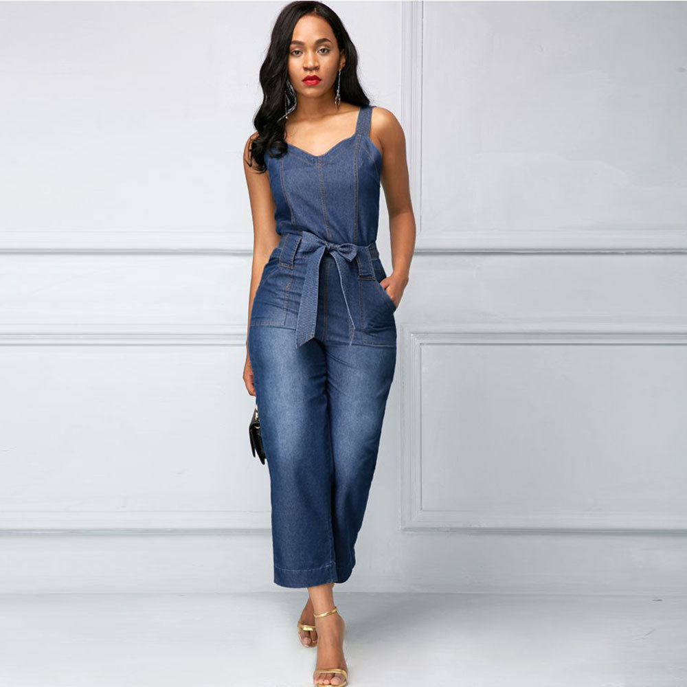 Lguc.H Denim Women's Overalls 2018 Jeans Woman Jumpsuit High Waist Jean Women Trouser Wide Leg Ankle Length Female Clothes Fall