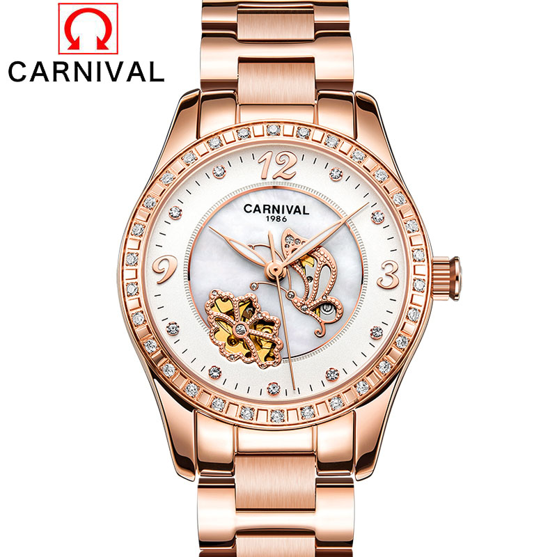 Top Brand Luxury Diamonds Fashion Dress Watch Ladies Automatic Mechanical Rose Gold Watch Skeleton Women Watches Relogio New binger genuine gold automatic mechanical watches female form women dress fashion casual brand luxury wristwatch original box