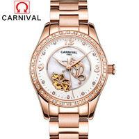 Top Brand Luxury Diamonds Fashion Dress Watch Ladies Automatic Mechanical Rose Gold Watch Skeleton Women Watches Relogio New