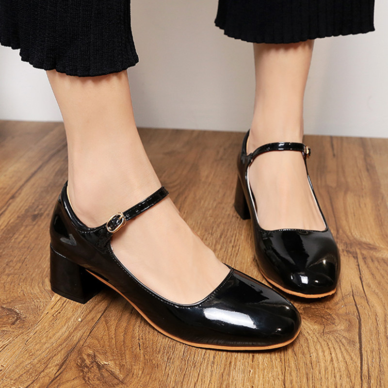 6d385ca50883 Spring Women Mary Janes Shoes Patent Leather High Heels Pumps Ankle Strap  Dress Shoes Square Toe