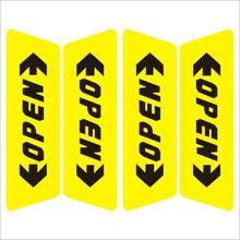 цена на 4 pieces Car safety reflective stickers Door OPEN warning stickers Yellow and red OPEN sticker Car warning signs Car stickers