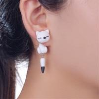 Handmade Fox Polymer Clay Earrings For Women Cartoon Fox Earings DIY Cute Animal Stud Earrings Best Gift For Womens Girls