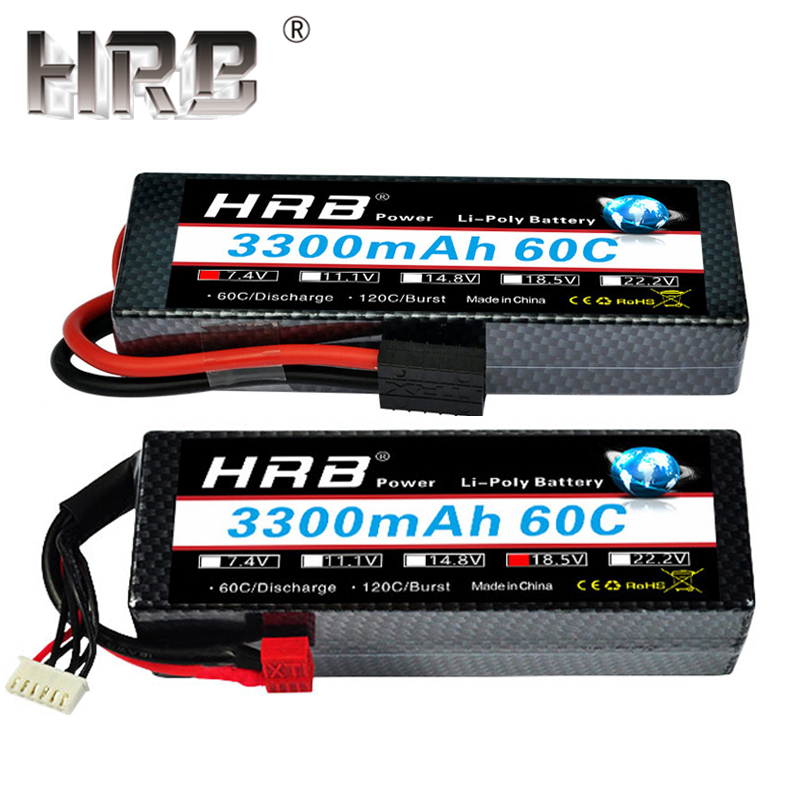 HRB 3300mah Hardcase Lipo Battery 2S 7.4V 3S 11.1V 4S 14.8V 5S 18.5V 6S 22.2V 60C T Deans Hard Case RC Airplane Truck Cars Parts image