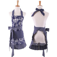 1Pcs Red Blue Striped Dots Apron Woman Adult Bibs Home Cooking Baking Coffee Shop Cleaning Aprons