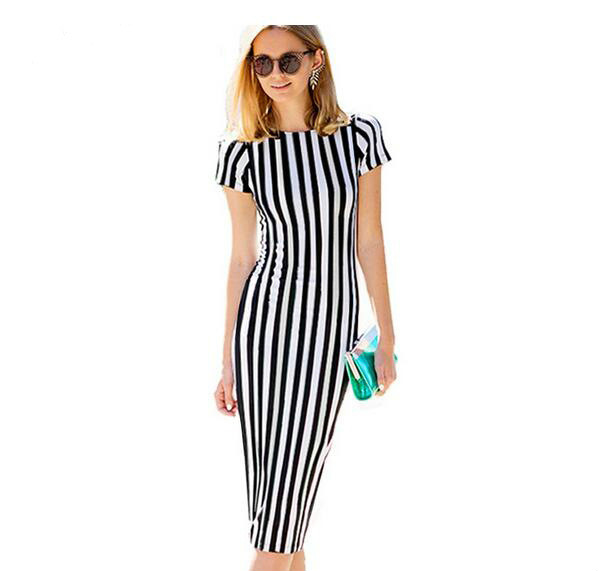 Black And White Striped Dresses Casual Dress Summer Vestido De Verano 2017 Striped Knitted Woman's Dress Women Designer Clothing casual striped comfy knitted blouse