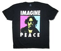 Schwarz Stil Herrenmode Rundhalsausschnitt John Lennon Frieden Vorstellen Pastell Bild Schwarz T-shirt