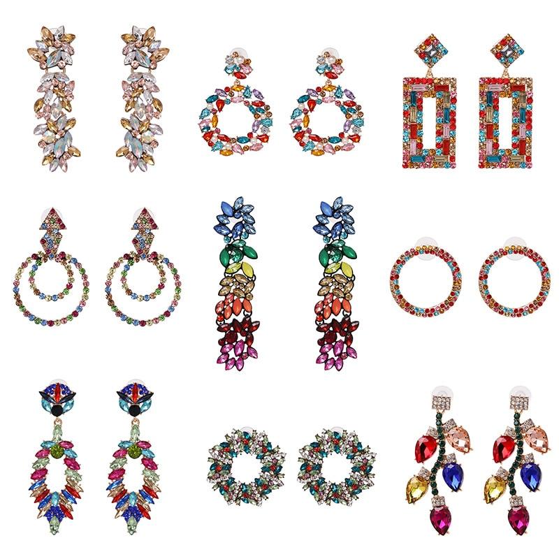 FASHIONSNOOPS Hot Sale Ethnic Jewelry Colorful Big Drop Earrings For Women Bohemia Wedding Earring Gift Bijoux