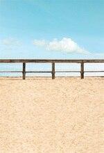Laeacco Light Blue Bridge With Fence Seaside Scene Photography Backgrounds Customized Photographic Backdrops For Photo Studio