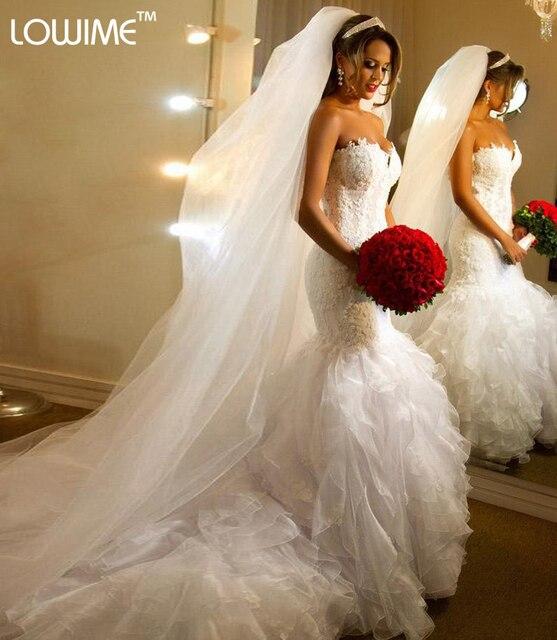 vestido de noiva Mermaid Trumpet Wedding Dresses Tiered Puff Organza ...
