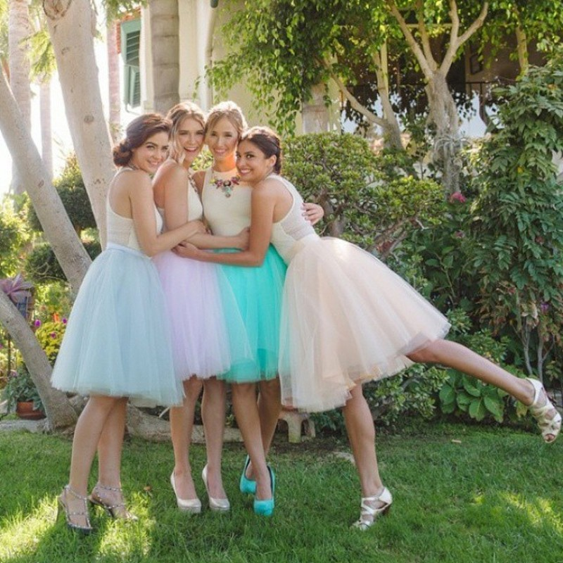 Fashion Knee Length Tulle Skirt Lavender Peach Color Sky Blue Mint Green Tutu Skirt For Women Zipper Style Bridesmaid Tutu Skirt