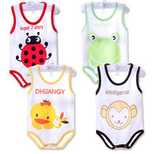 2018 Baby Infant Rompers Spring Summer Baby Vest Boys Girls Clothes Newborn Sleeveless Sleeping Clothing Jumpsuit(China)
