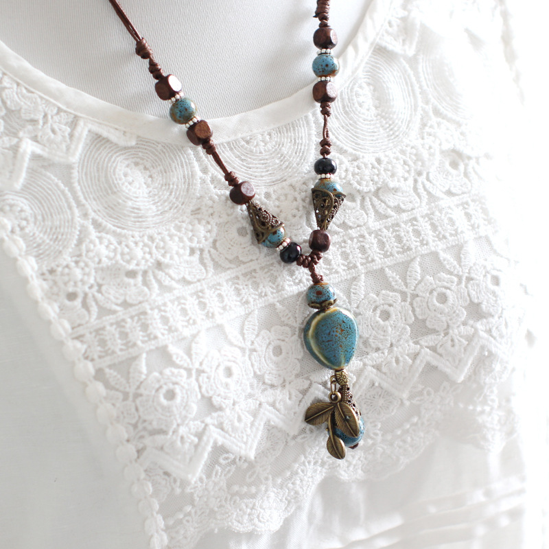 St.kunkka Ceramic Statement Necklaces For Woman Long Wood Sweater Chain