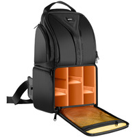 Neewer Professional Camera Storage Bag Durable Waterproof Black For DSLR Camera Lens Accessories Orange Interior