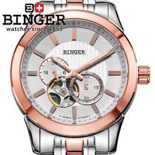 Switzerland men's watch luxury brand BINGER 18K gold Mechanical Wristwatches full stainless steel  waterproof BG-0406-3