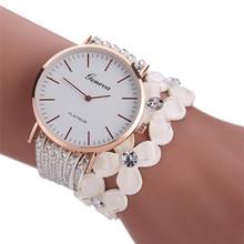 Fashion Leisure Womens Quartz Bracelet Watch Crystal Diamond Wrist Watch Leather Band Bracelets For Women Clock Relojes Mujer