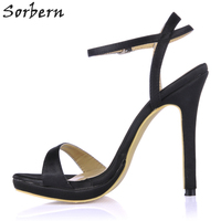 Sorbern Custom Materials Colors Ankle Strap Slingbacks One Strap Women Sandals Party High Heels Platform Bridal