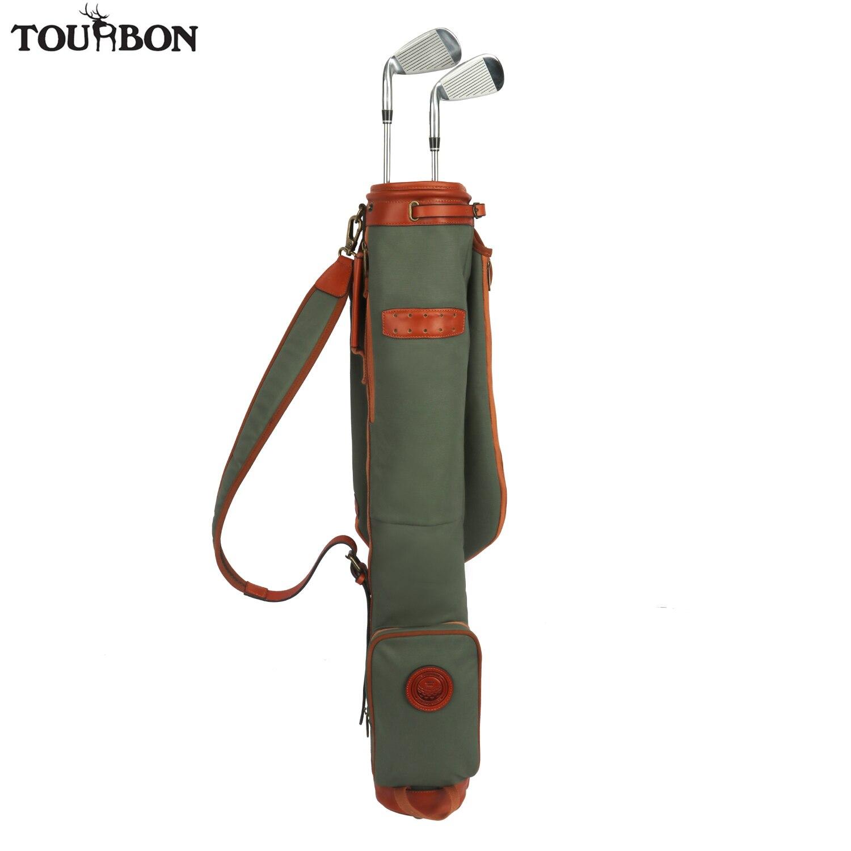 Tourbon Vintage Golf Club Carrier Canvas & Leather Golf Gun Bag Wax Waterproof Fleece Padded Pencil Style Interlayer Cover 84CM