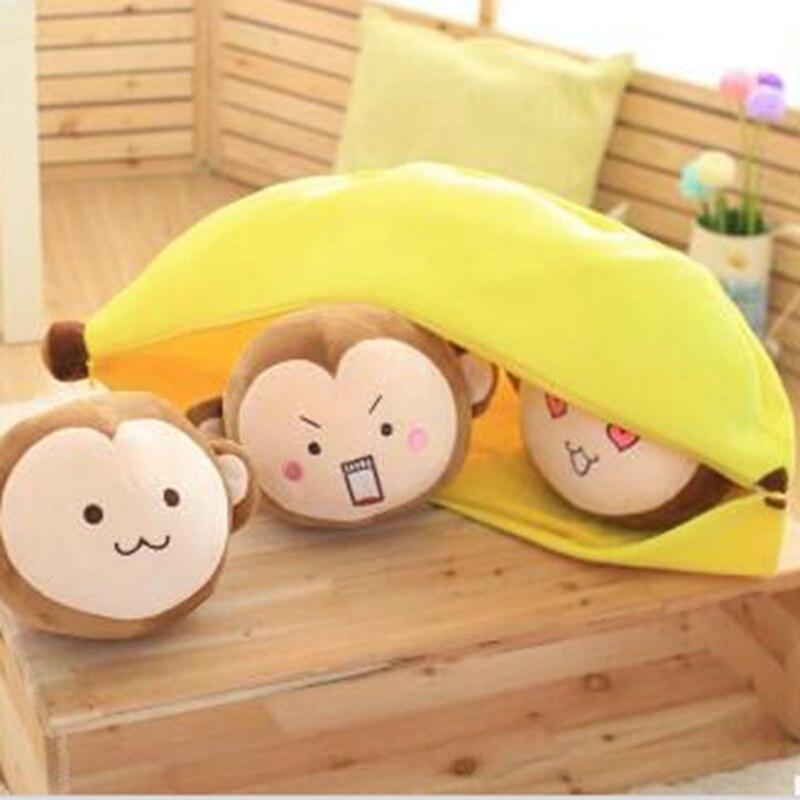 Nouveau gros 70 cm Mignon tête de singe en peluche jouets légumineuse oreiller doux coussin en peluche animaux en peluche poupée d'anniversaire cadeau pour enfant