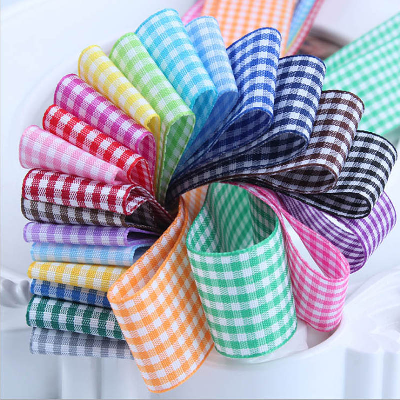 Gingham Ribbon High Quality DIY Handmade 6 9 16 25 38 MM 1/4 3/8 5/8 1 1-1/2 Inch image