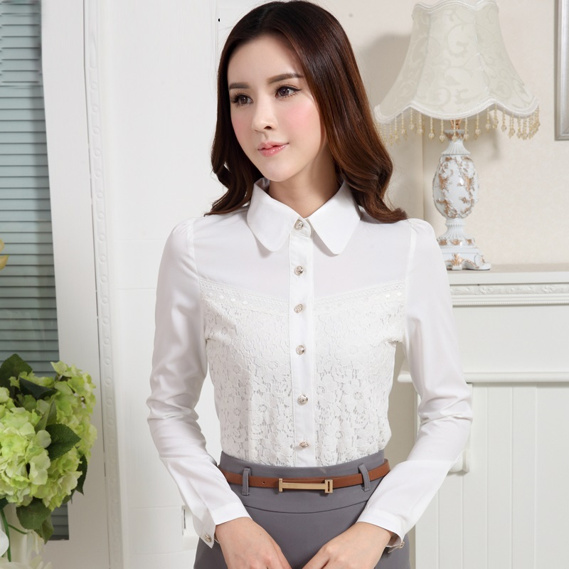 Online Get Cheap White Lace Long Sleeve Shirt Woman Office Work ...