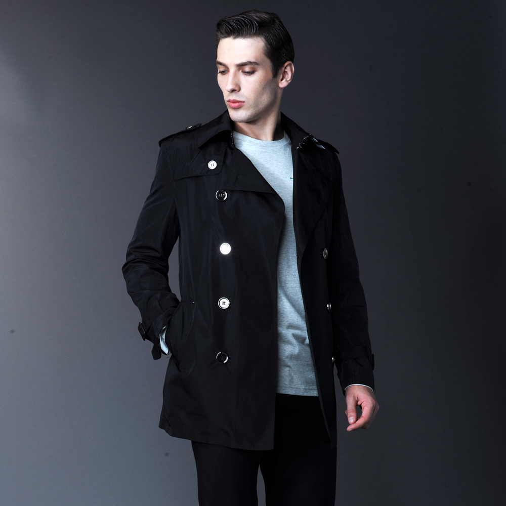 2014 New fashion Short Men's trench coat men's double breasted ...