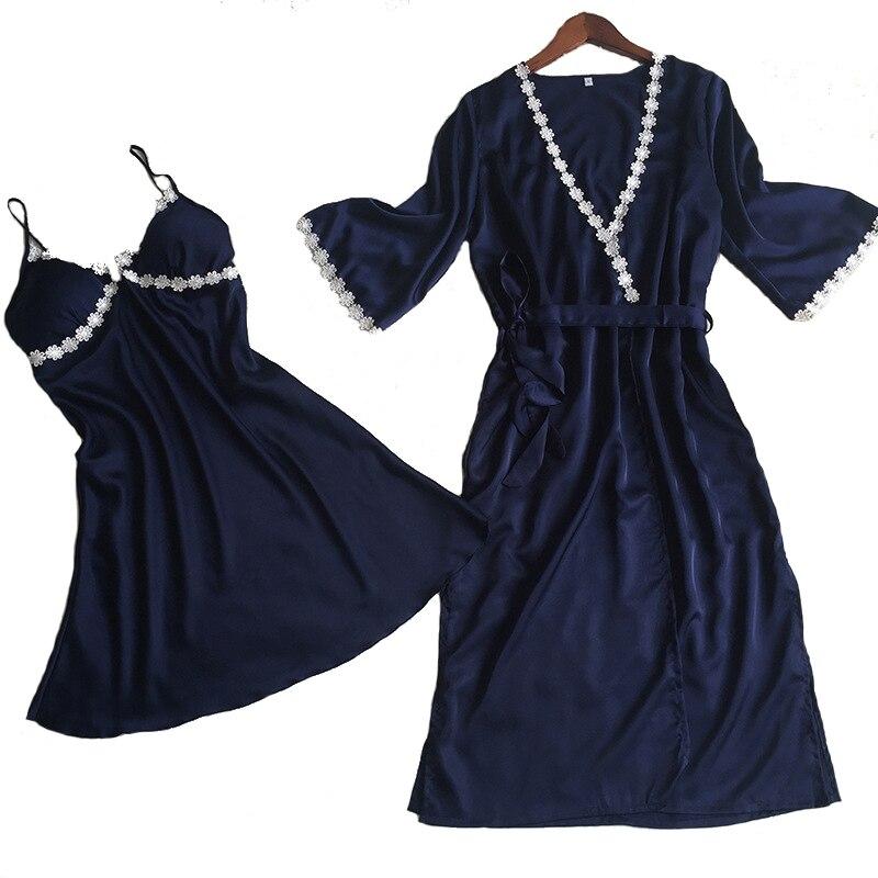 Damen-nachtwäsche Aufstrebend Weibliche Twinset Robe Set Sommer Nachtwäsche Seidige Satin Nachthemd Mini Sexy Kimono Bademantel Kleid Applique Blume Nachthemd M-xl Senility VerzöGern