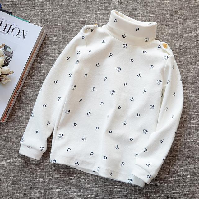 Algodão crianças encantador gola alta T camisas do bebê do menino quente t-shirt de 2015 meninas outono inverno camisa de apoio crianças tops 5 cores