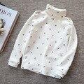 Niños encantador del algodón de cuello alto camisetas el bebé caliente T-shirt de 2015 muchachas del otoño invierno camisa respaldo tops 5 colores