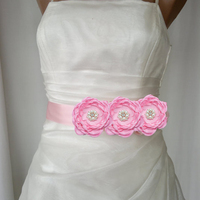 Baby Girl Satin Ribbon Flower Sash Belt Wedding Bridesmaid Pearl Layered Flower Sash Women Maternity Sash