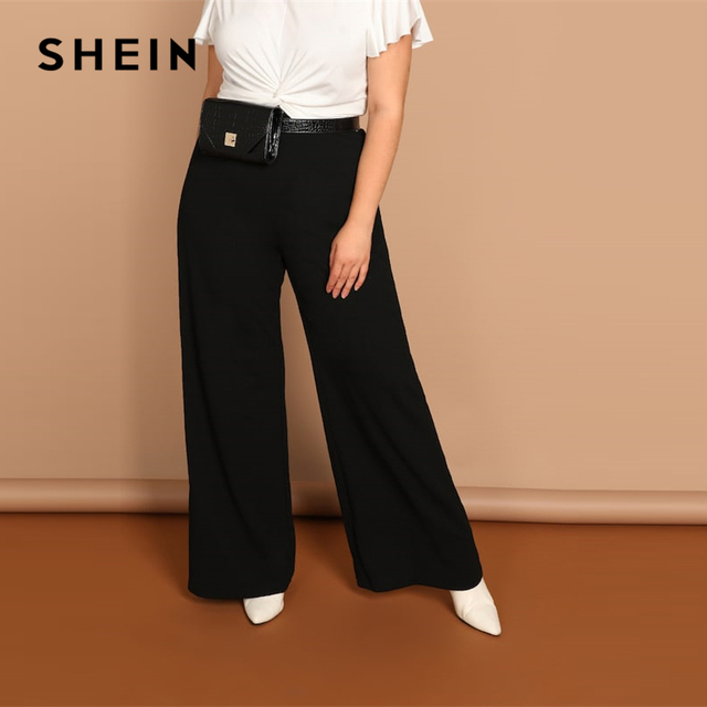 SHEIN Black Plus Size Plain Loose Wide Leg Long Pants Women Office Lady Minimalist 2019 Spring Fashion Solid Trousers