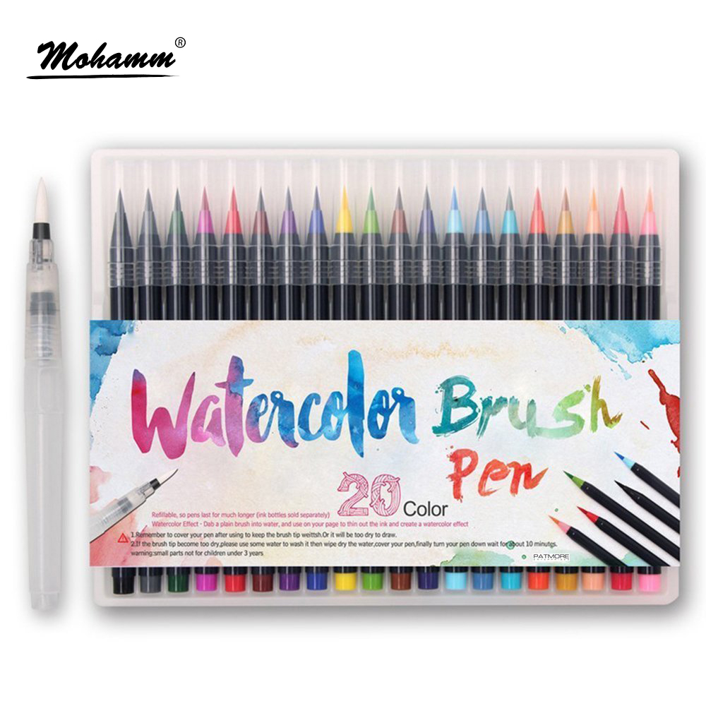 20 Colors/Lot Set Professional Watercolor Painting Soft Brush Pen Set Markers Pen Artist Supplies Manga Comic Calligraphy 20 color premium painting soft brush pen set watercolor art copic markers pen effect best coloring books manga comic calligraphy