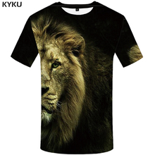 KYKU Lion T shirt Animal Mens Clothing Design 3d T-shirt Plus Size Clothes Funny Tshirt Men 2018 Tops Tees High Quality