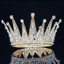 Женская винтажная Тиара с кристаллами, король и королева, свадебный головной убор для невесты, ювелирные украшения для волос для свадьбы, конкурса, выпускного вечера