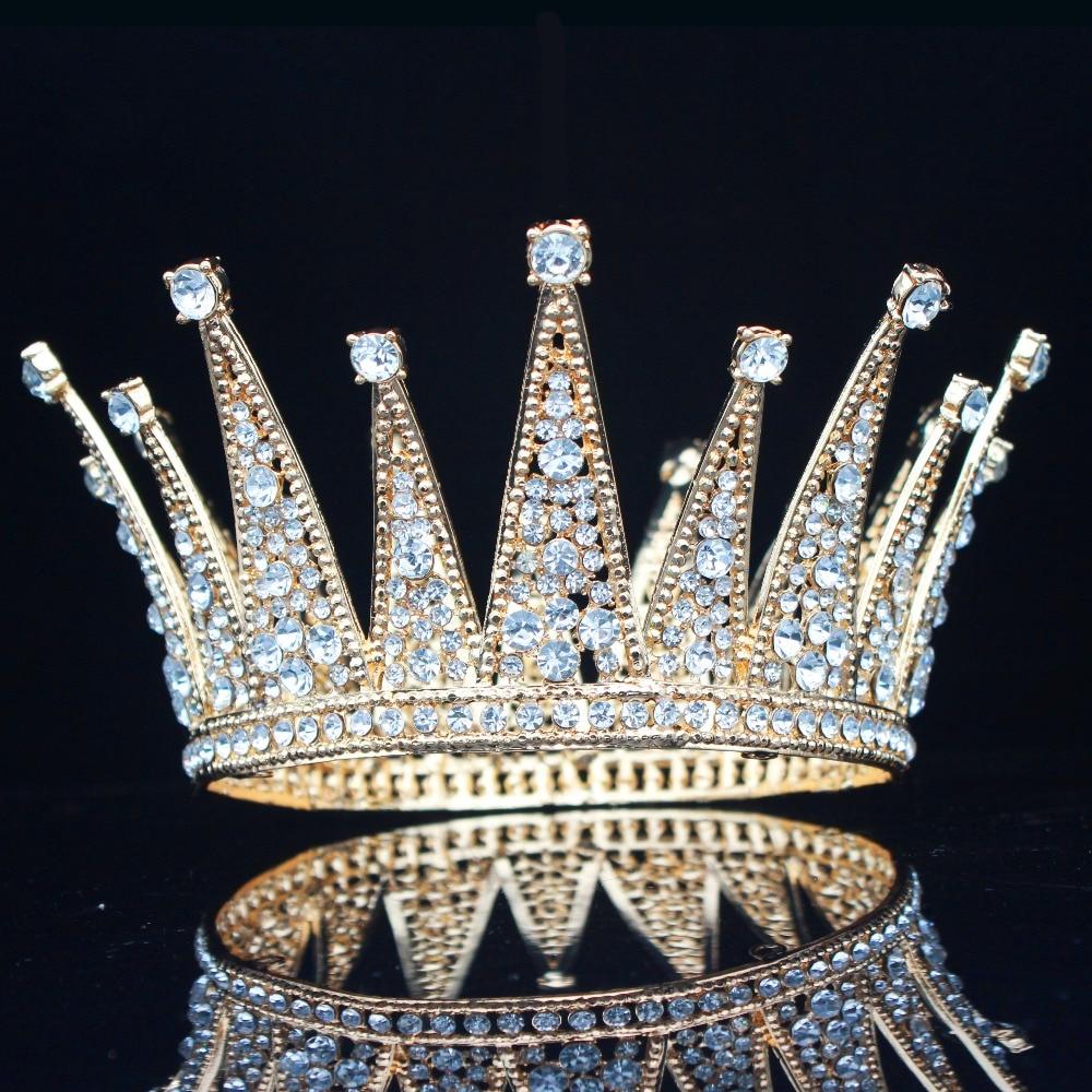 Vintage Crystal Queen King Bridal Tiara Crown Bride Headpiece Wedding Hair Jewelry Accessories Women Pageant Prom Hair Ornaments-in Hair Jewelry from Jewelry & Accessories
