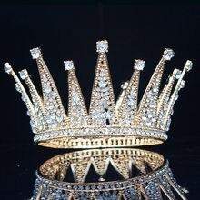 Женская винтажная Тиара с кристаллами, король и королева, свадебный головной убор для невесты, ювелирные украшения для волос для свадьбы, ко...