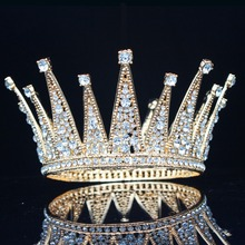 VintageคริสตัลQueen Kingเจ้าสาวTiaraมงกุฎเจ้าสาวHeadpieceเครื่องประดับผมอุปกรณ์เสริมประกวดพรหมเครื่องประดับผม