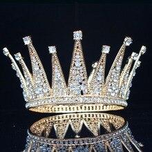 Vintage kristal kraliçe kral gelin tacı taç gelin başlığı düğün saç takı aksesuarları kadın Pageant balo saç süsler