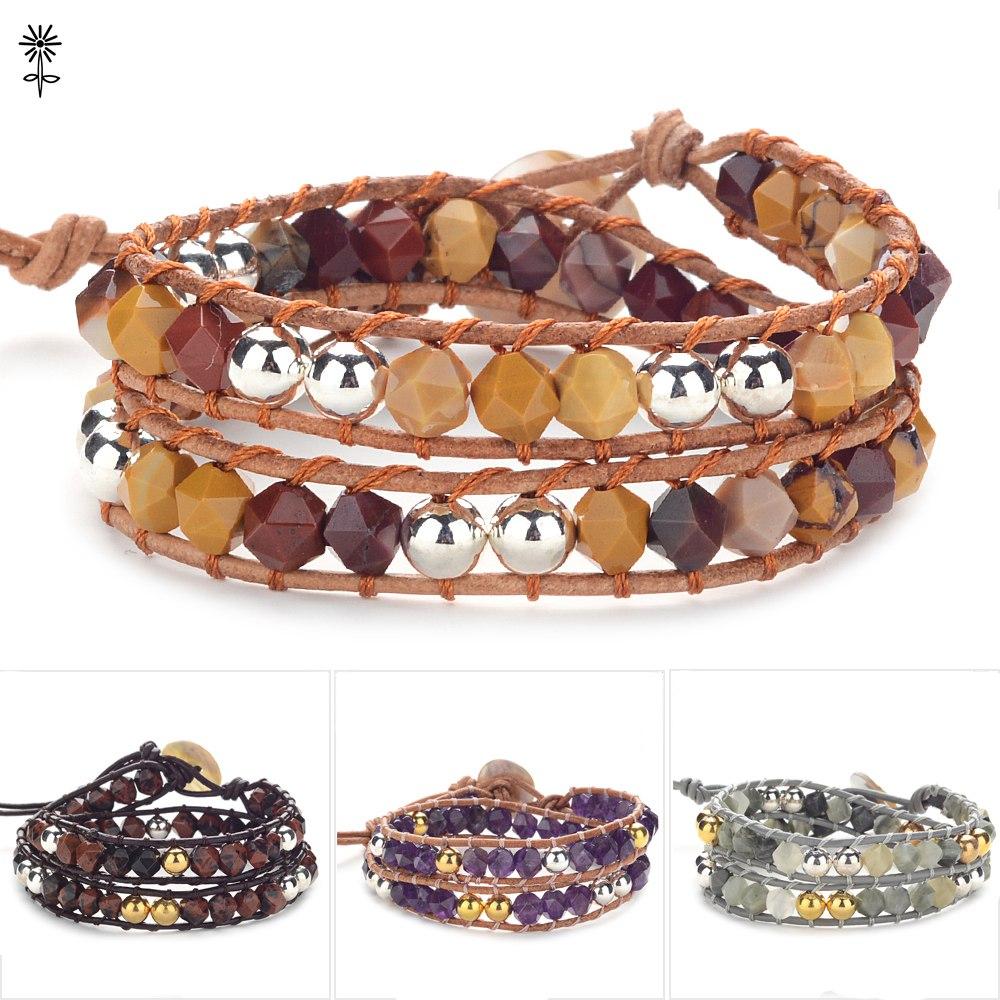 Bracelet en cuir de pierre naturelle Boho 2 couches Bracelet perlé avec des bijoux de Bracelet de tissage de corde en cuir