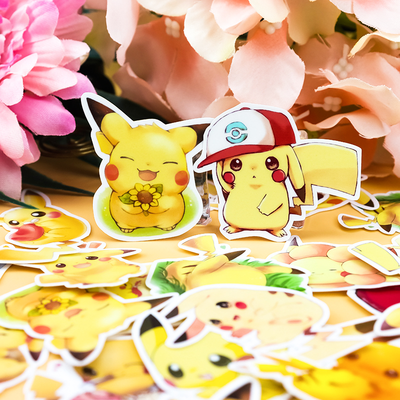 28Pcs Cute Japanese Anime Pikachu Stickers Decoration DIY Scrapbooking Sticker Stationery Kawaii Diary Label Sticker Laptop
