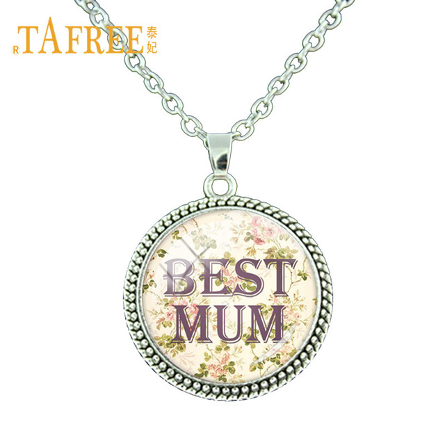 ae61ac3706504 US $1.02 49% OFF|TAFREE Love Best Mum Round Pendant Necklace Best Mom Ever  Charms Long Chain Lady Necklace For Mother /women Best Gift MM27-in Pendant  ...