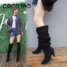 2019 Knights Of The Spring And Autumn Period And The New High-heeled Boots Knee-high Boots Suede Boots Female Element Face Knee- cheap Adult Flock Over-the-Knee Slip-On Chelsea Boots Pointed Toe High (5cm-8cm) Thin Heels Winter Short Plush Solid Rubber Fits true to size take your normal size