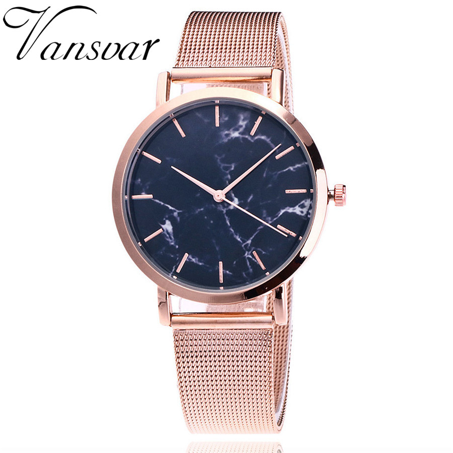 Vansvar Brand Fashion Silver And Gold Mesh Band Creative Marble Wrist Watch Casual Women Quartz Watches Gift Relogio Feminino(China)
