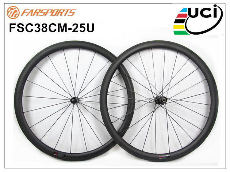 High quality carbon wheelsets 38mm 25mm clincher <font><b>rims</b></font> high TG basalt braking track <font><b>20H</b></font> 24H UD matte 1490g <font><b>700C</b></font> full carbon wheel image